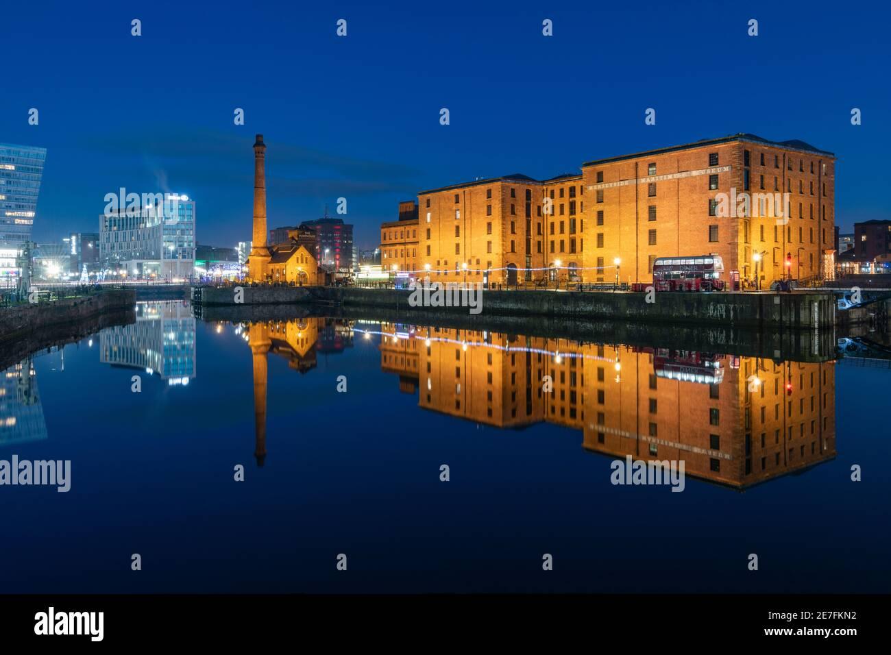 The Merseyside Maritime Museum reflected at night, Liverpool, Merseyside Stock Photo