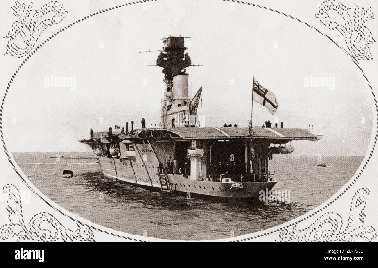 HMS Hermes, British aircraft carrier.  From British Warships, published 1940. Stock Photo