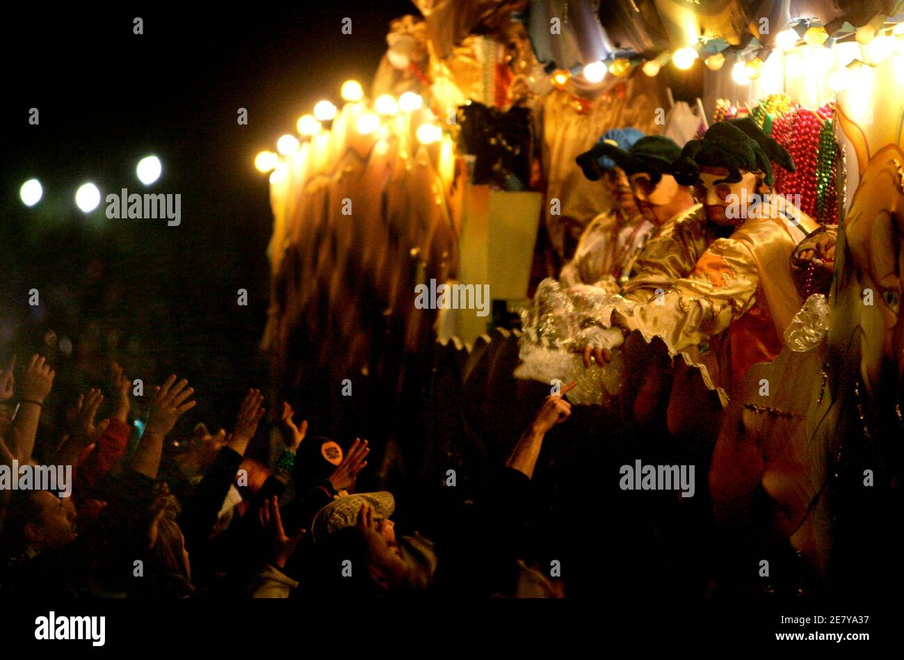 Members of the Krewe of Bacchus parade down St. Charles Avenue while celebrating the Mardi Gras weekend in New Orleans, Louisiana February 18, 2007. REUTERS/Sean Gardner (United States) Stock Photo