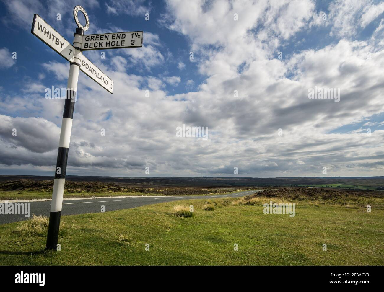Old fashioned British road sign near Goathland in the North York Moors National Park, indicating the way to Green End, Beck Hole and Whitby Stock Photo
