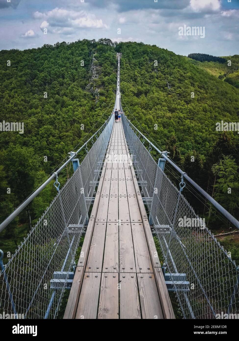 Geierlay Suspension Bridge in Hunsrück Mountain Range. It is the ...
