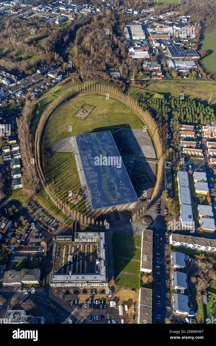 Aerial photo, tree avenue Mont-Cenis colliery, Mont-Cenis Academy, Sodingen, Herne, Ruhr area, North Rhine-Westphalia, Germany, tree circle, DE, energ Stock Photo