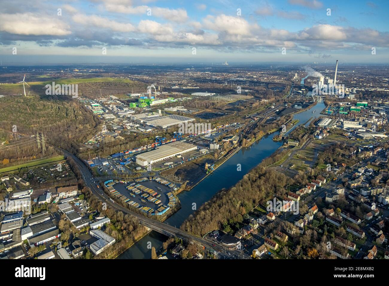 Aerial view, Am Westhafen industrial park, CTH Container Terminal Herne GmbH, Müller - Die lila Logistik AG, Rhine-Herne Canal, STEAG combined heat an Stock Photo