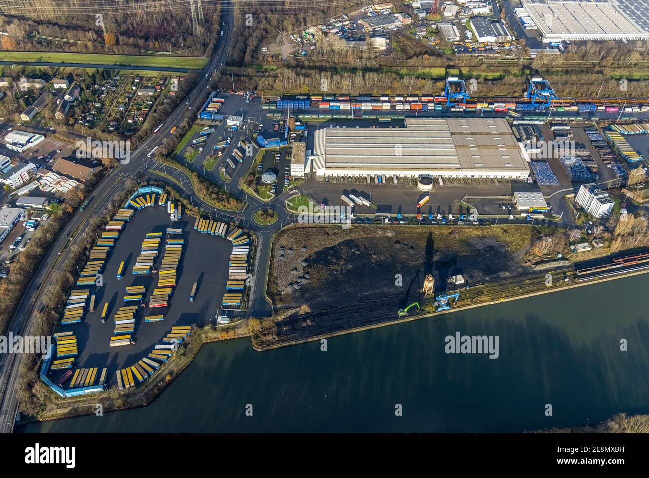 Aerial view, Am Westhafen industrial park, CTH Container Terminal Herne GmbH, Müller - Die lila Logistik AG, Rhine-Herne Canal, Unser Fritz, Herne, Ru Stock Photo