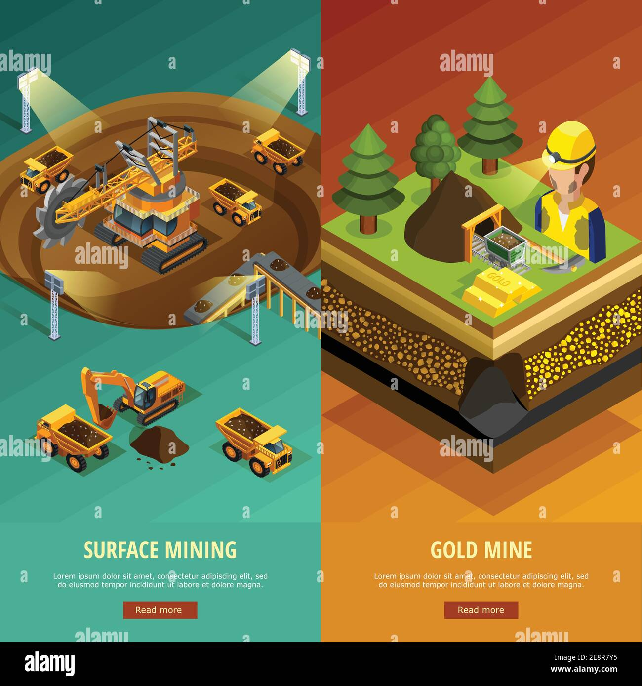 Mining vertical banners set with surface mining symbols isometric isolated vector illustration Stock Vector