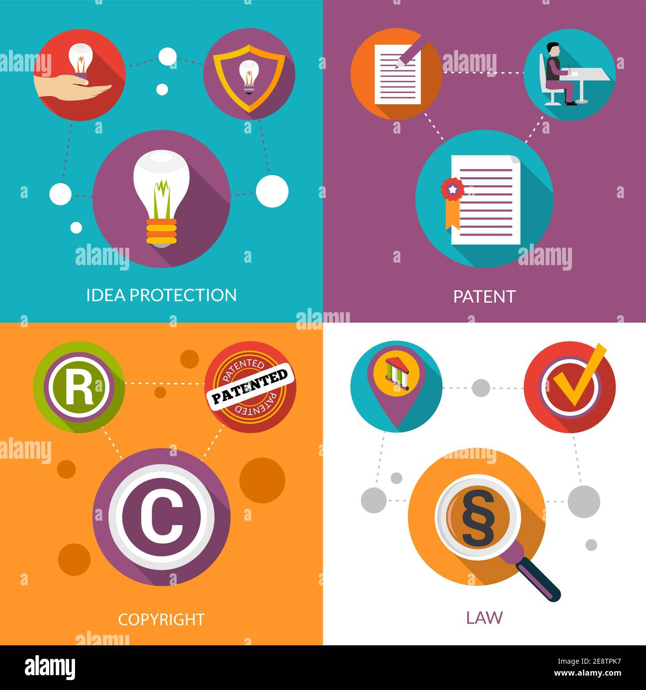 Patent idea protection design concept set with copyright and law flat icons isolated vector illustration Stock Vector