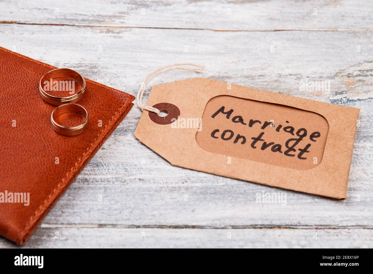 Marriage contract label. Stock Photo
