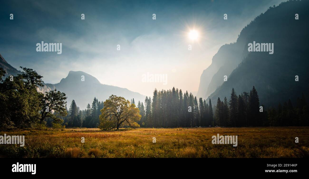 Panorama of Yosemite Valley during wildfires Stock Photo