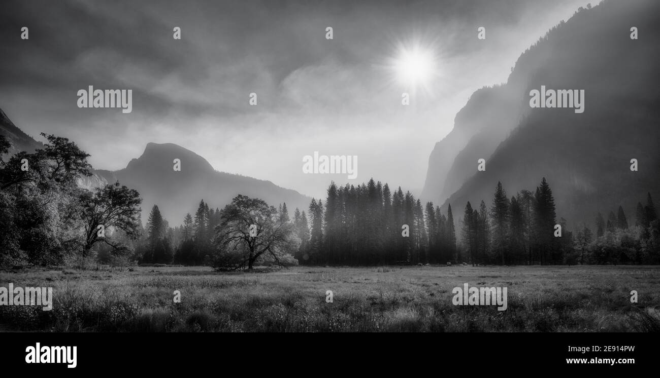Panorama of Yosemite Valley during wildfires, black and white photo Stock Photo