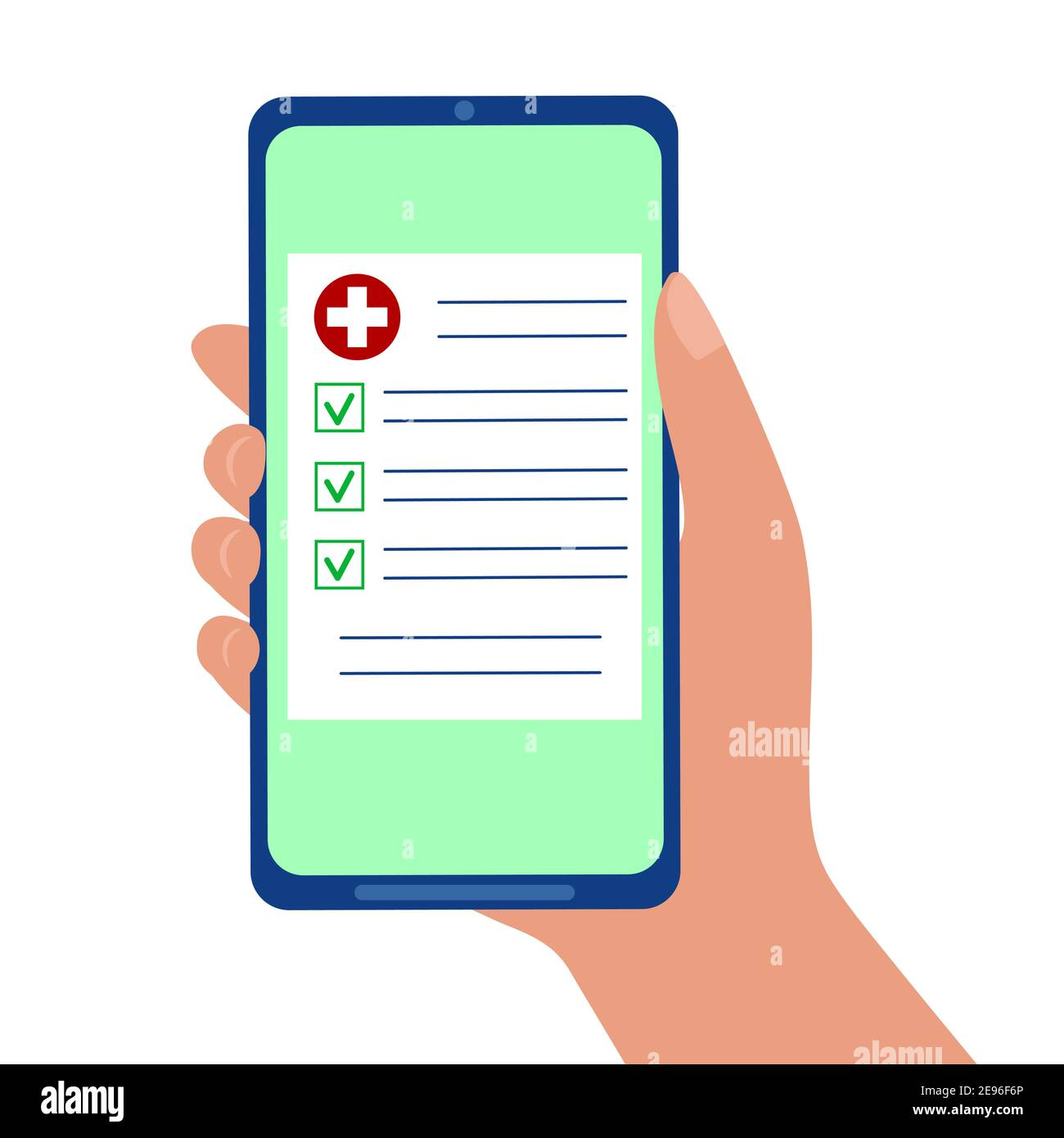 Drugs prescription, medical insurance, test results online. Hand holding smartphone with medicine document isolated on white background. Telemedicine concept. Vector flat illustration. Stock Vector