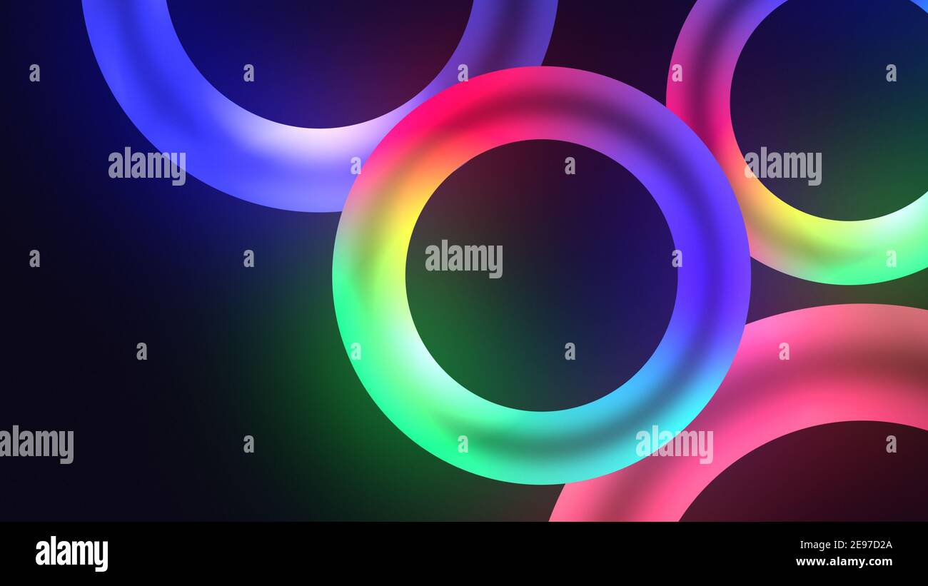 Colorful illuminating circles or torus with nice dynamic Glowing light effect, lowing torus shape, scanning rings, laser show technology, esoteric ene Stock Photo