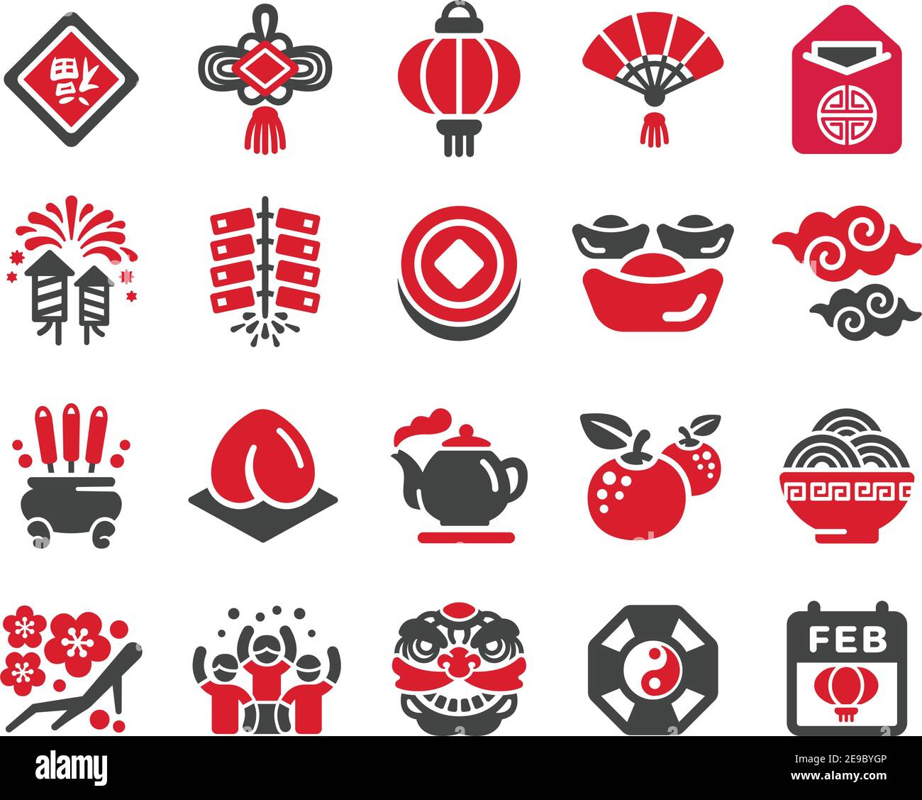 happy chinese new year icon set,vector and illustration Stock Vector