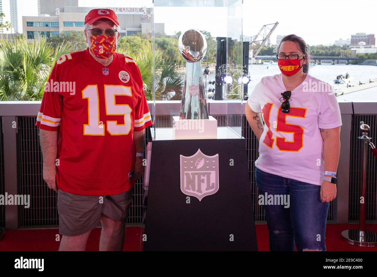 Saturday, January 30, 2021; Tampa, FL, USA; Fans pose with the ...