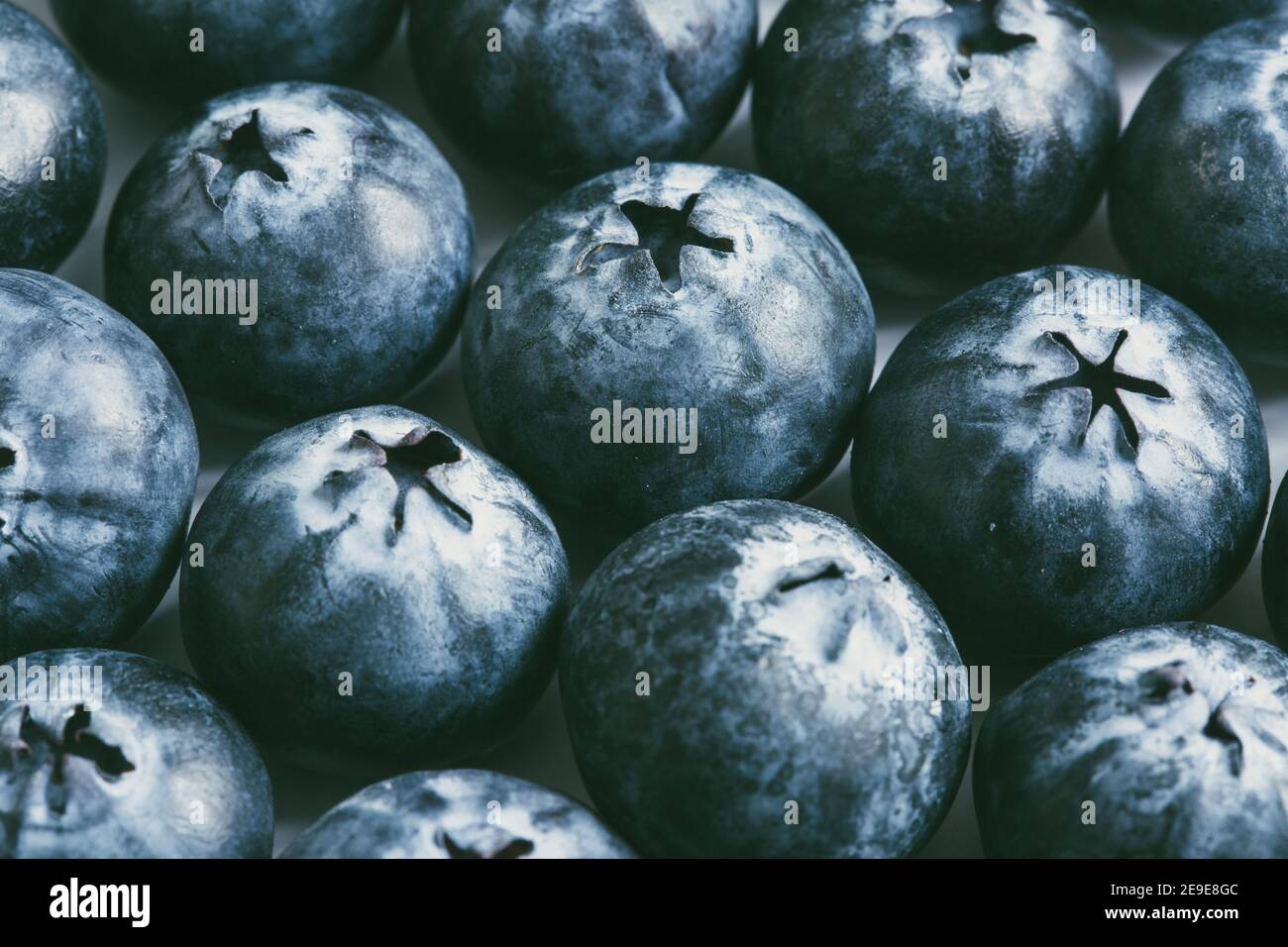 A full frame food fruit background of a close up of fresh, ripe blueberries packed together with copy space Stock Photo