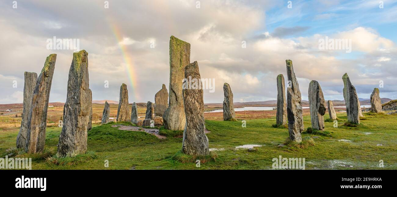 Isle of Lewis and Harris, Scotland: Rainbow and clearing sky at the Callanish Standing Stones Stock Photo
