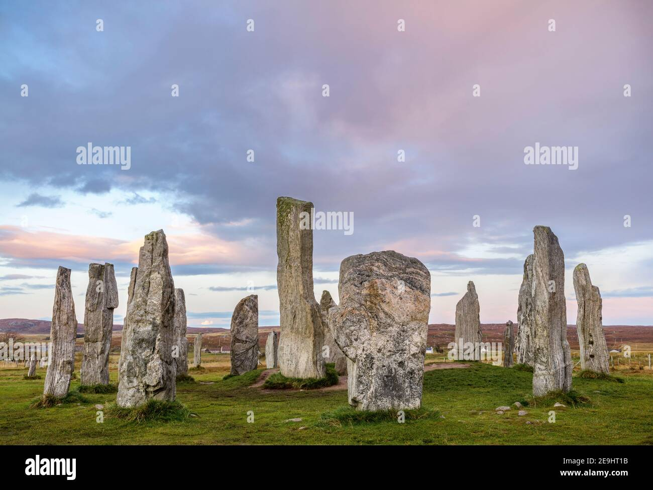 Isle of Lewis and Harris, Scotland: Sunset skies at the Callanish Standing Stones Stock Photo