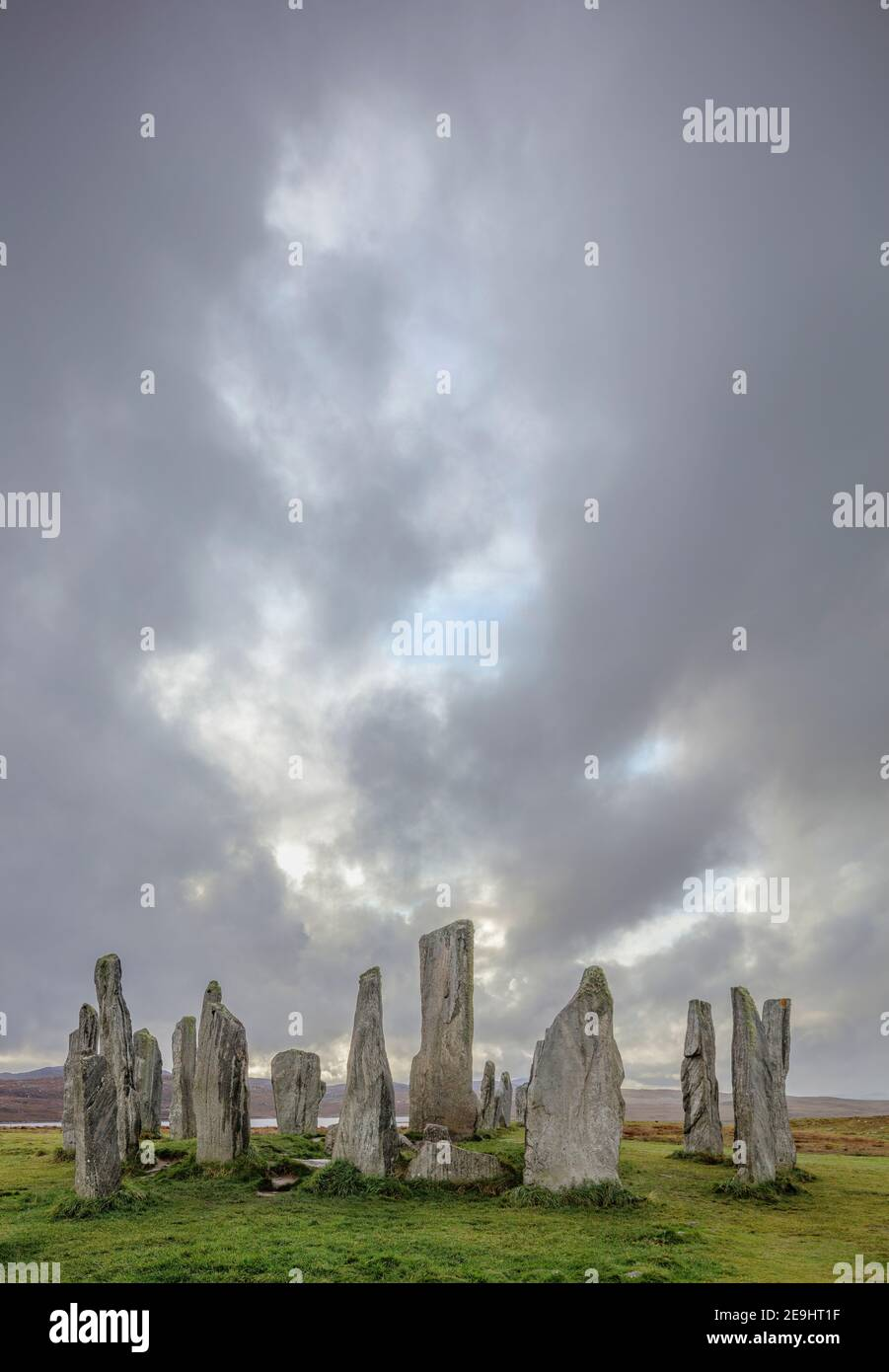 Isle of Lewis and Harris, Scotland: Storm clouds at Callanish Standing Stones Stock Photo