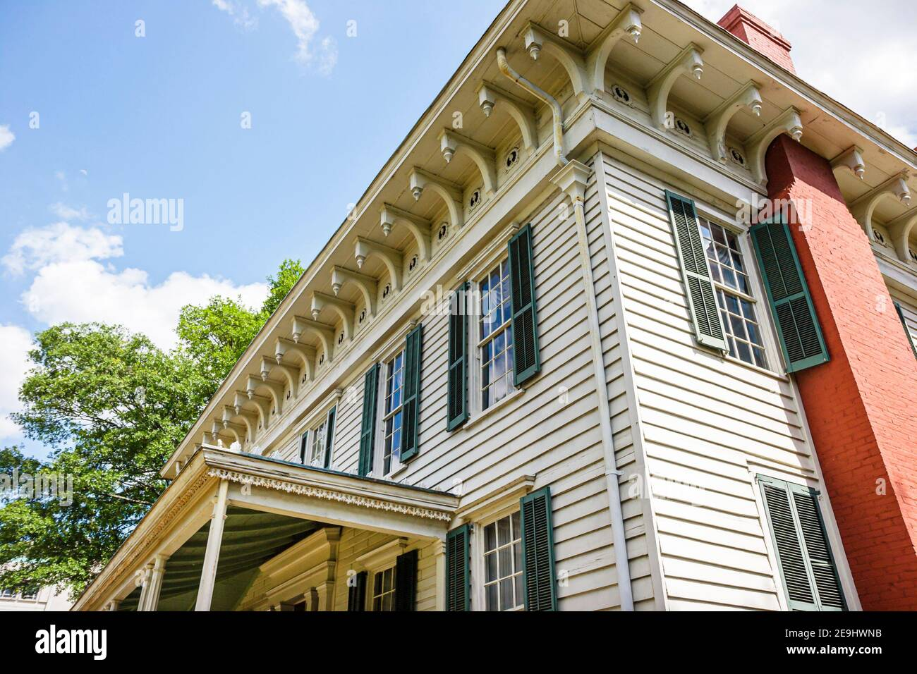 Alabama Montgomery First White House of the Confederacy,Civil War 1835 Italianate style outside exterior front entrance, Stock Photo