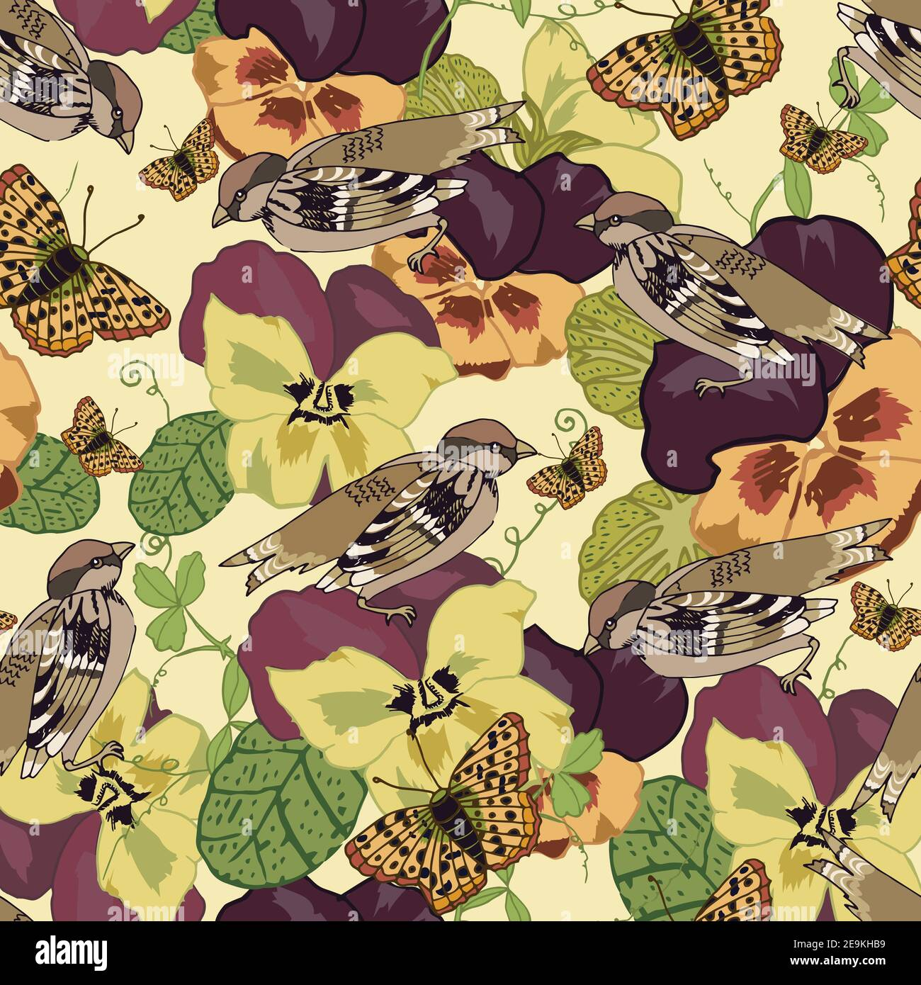 Vintage flowers seamless pattern with pansy petunia viola butterflies and sparrow birds vector illustration Stock Vector