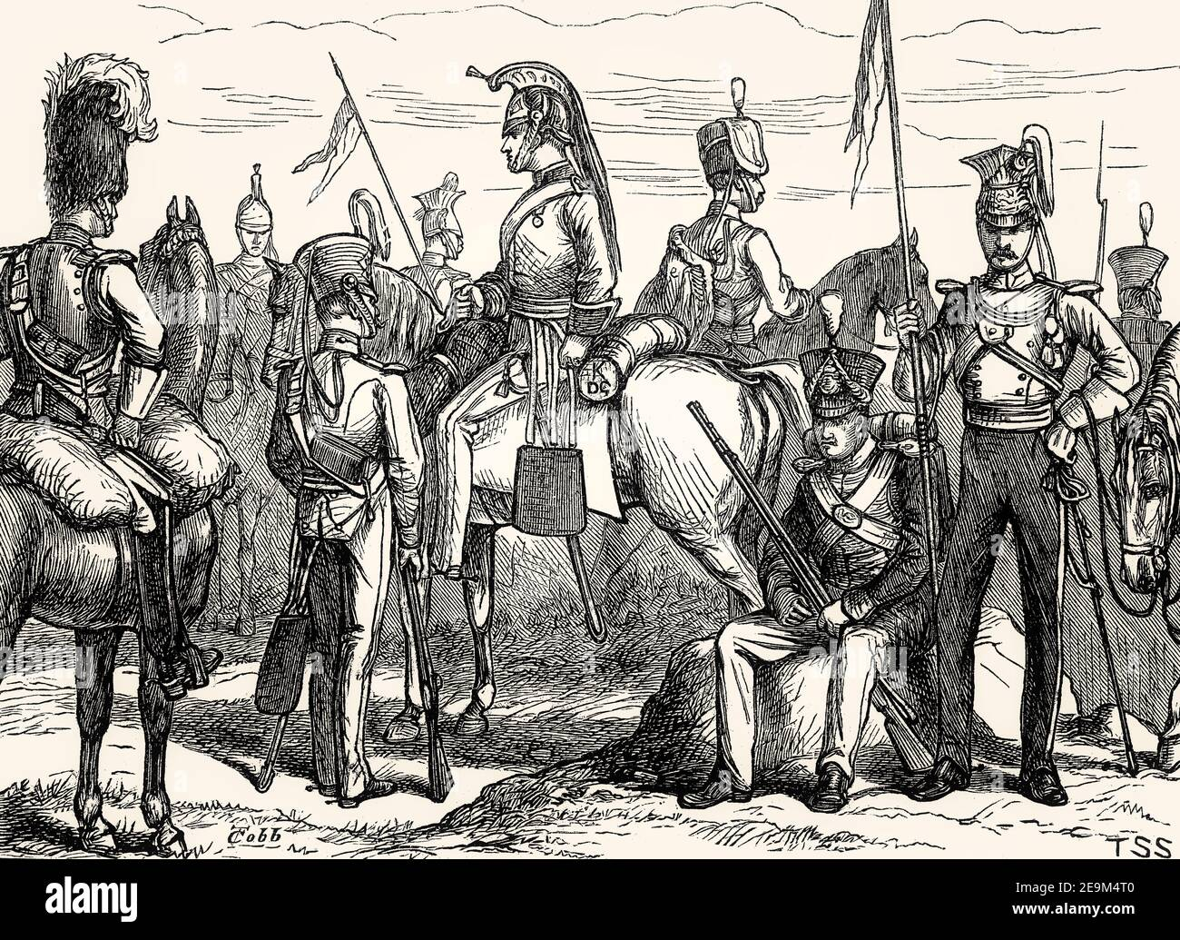 British military uniforms, 19th century; From British Battles on Land and Sea, by James Grant Stock Photo