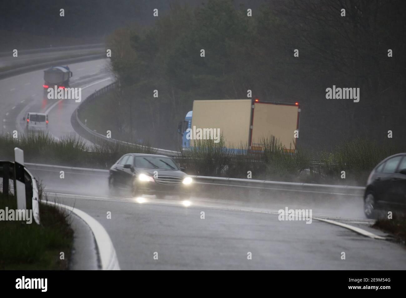 Rain slicked motorway in Germany Stock Photo