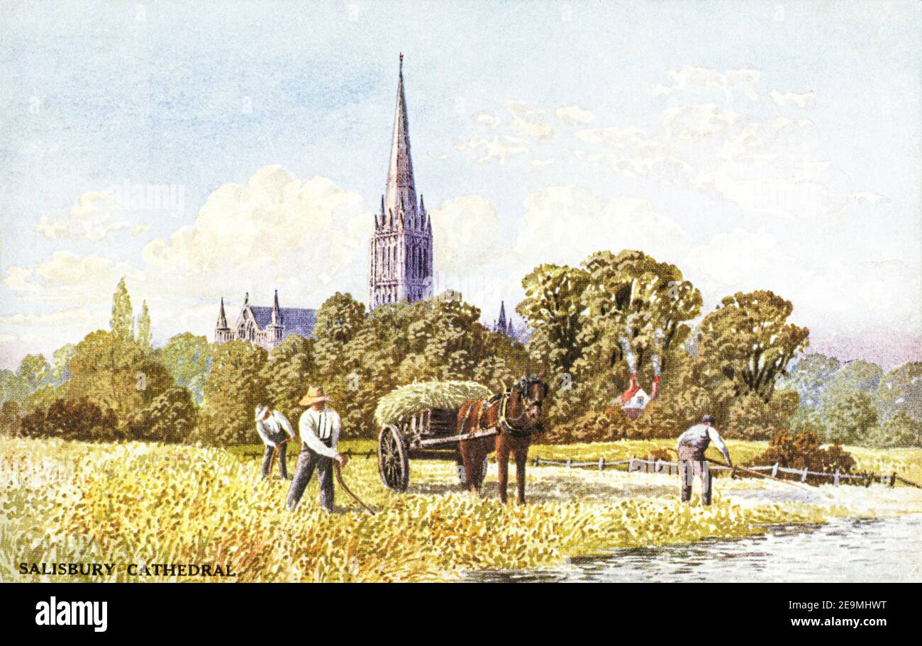 A coloured postcard of Salisbury Cathedral dating from the 1920s. Stock Photo