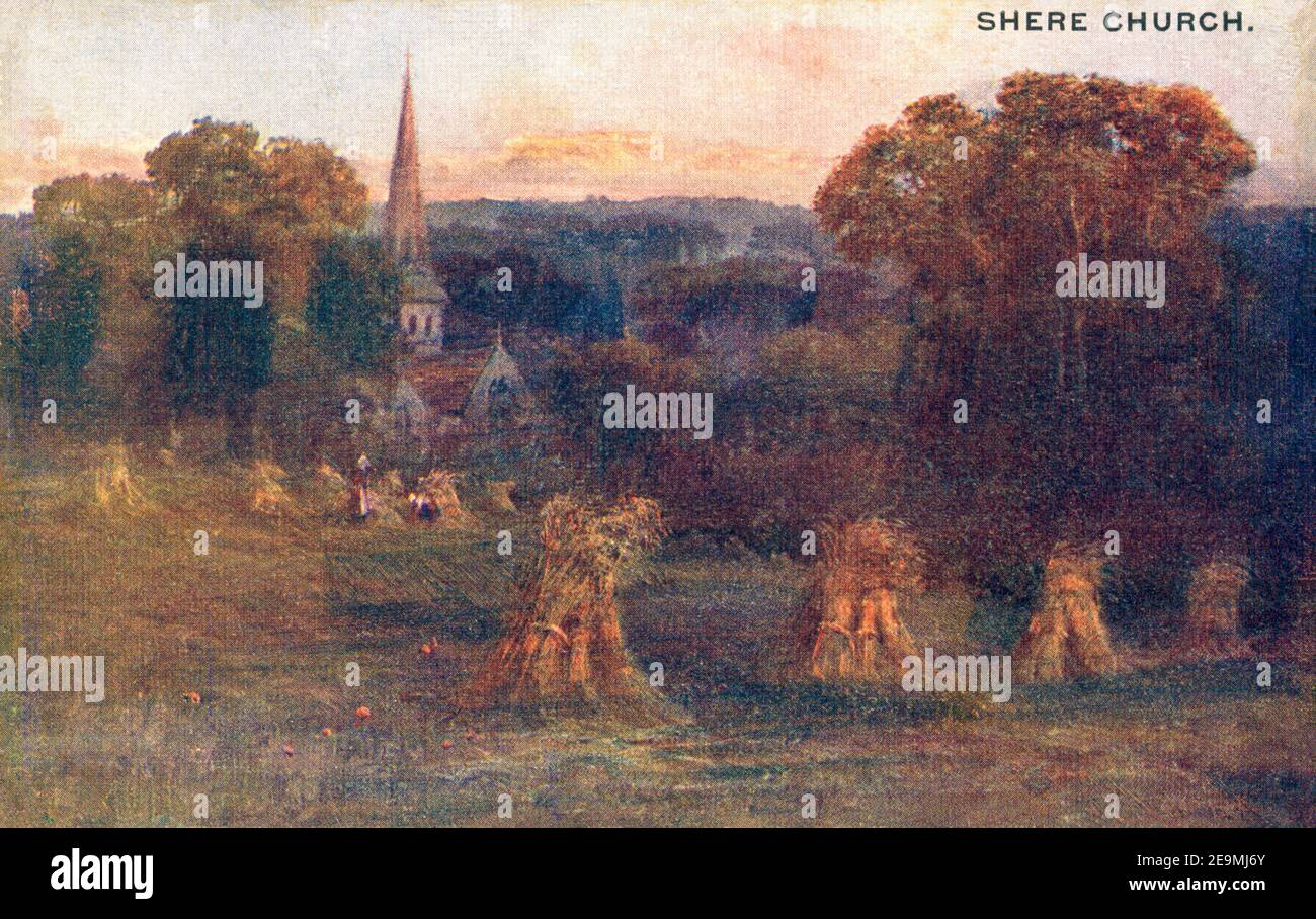 A coloured postcard of Shere Church, Surrey UK posted in 1908 Stock Photo