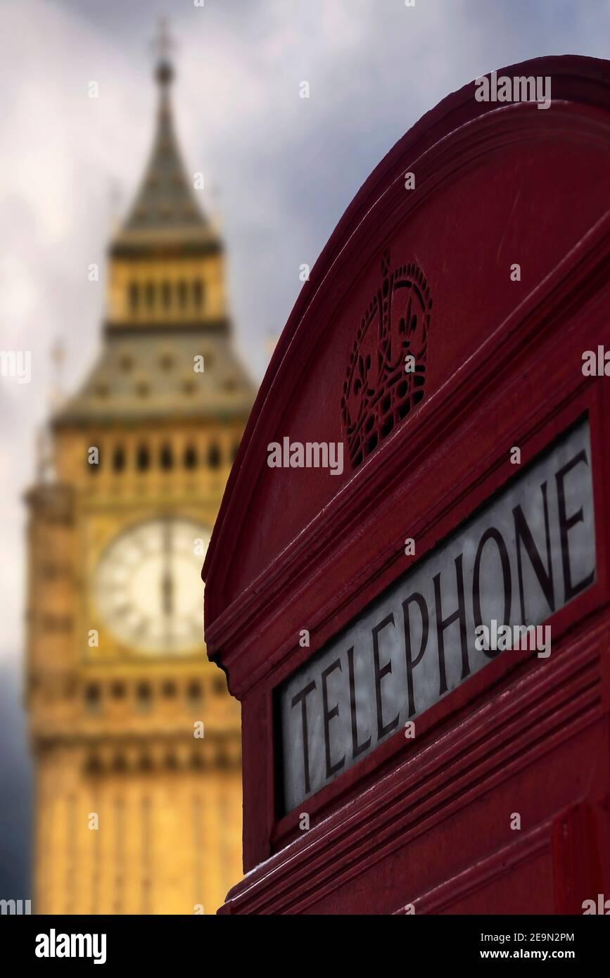 Big Ben and red phone box, London, UK. Stock Photo