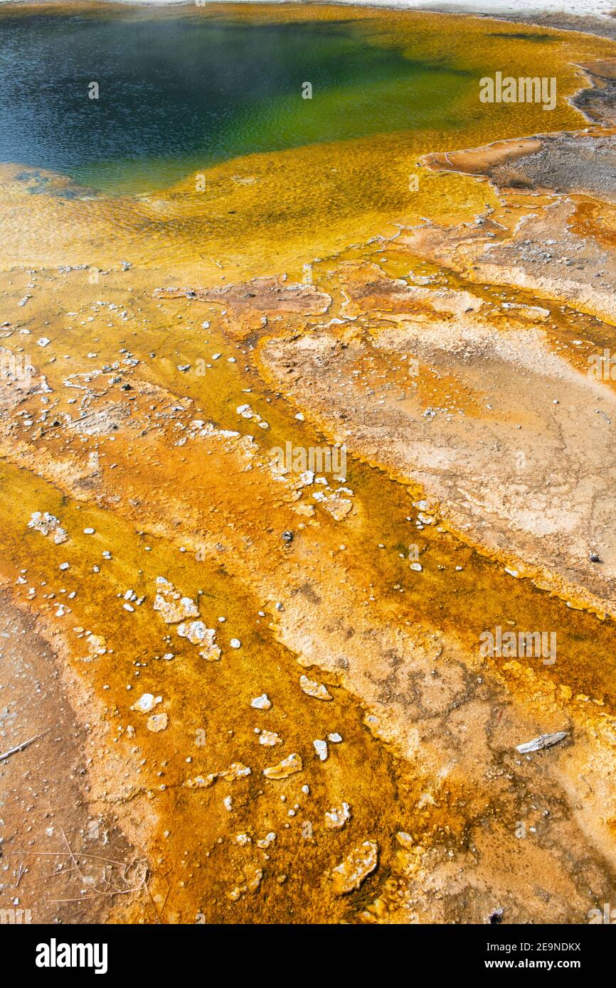 North America, Wyoming, Yellowstone National Park, Black Sand Basin, Emerald Pool. Green pool with yellow thermopile bacteria mat. Stock Photo