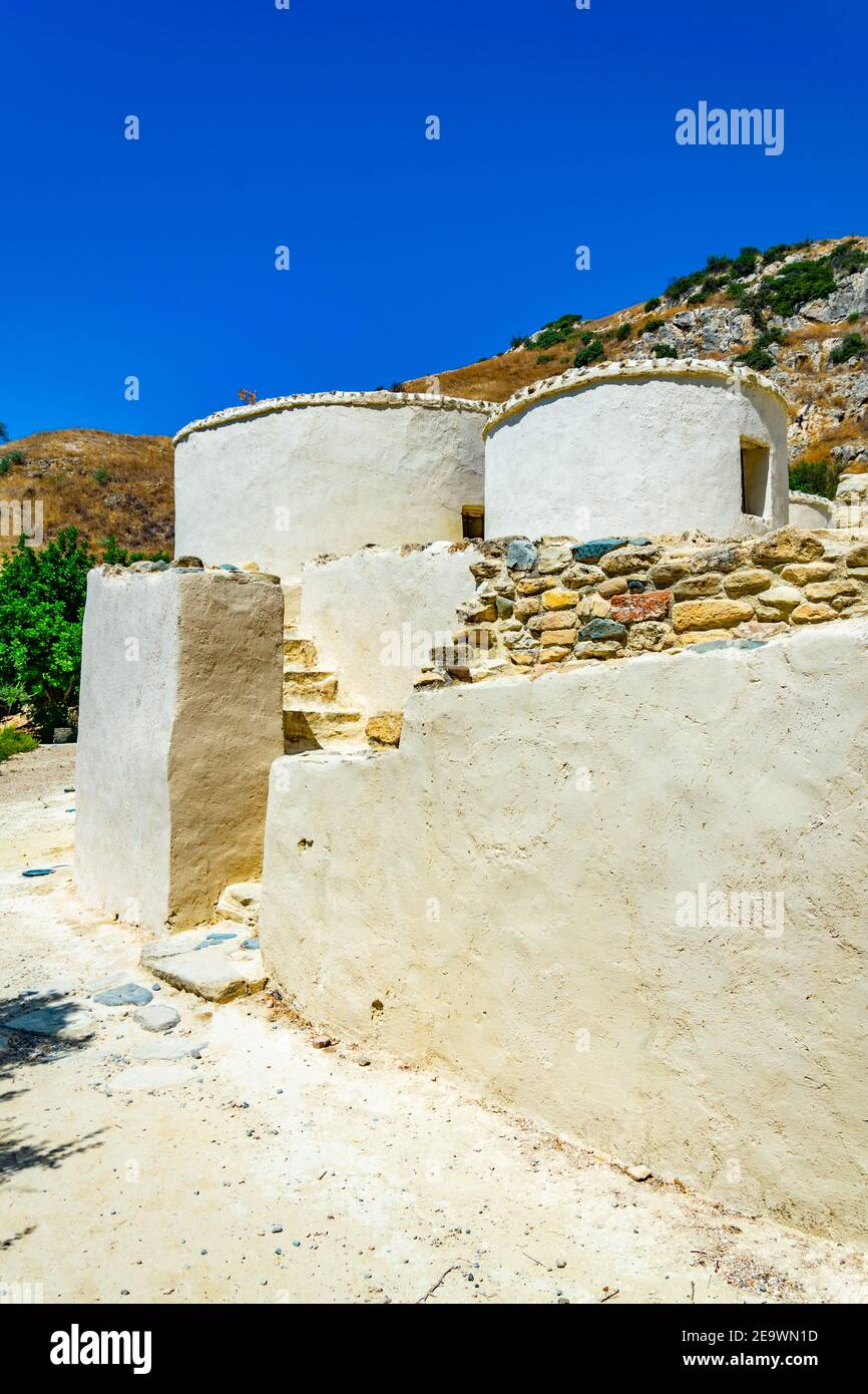 Reconstructed neolithic dwellings at Choirokoitia, Cyprus Stock Photo