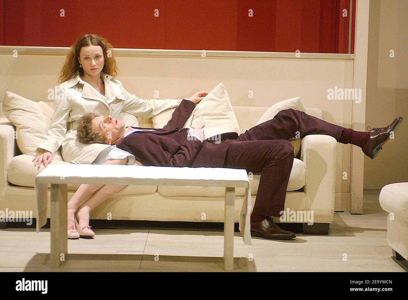 Marine Delterme and Nicolas Briancon perform in the play 'Le Manege' at Petit Theatre Montparnasse in Paris, France, on January 25, 2005. Photo by Giancarlo Gorassini/ABACA. Stock Photo