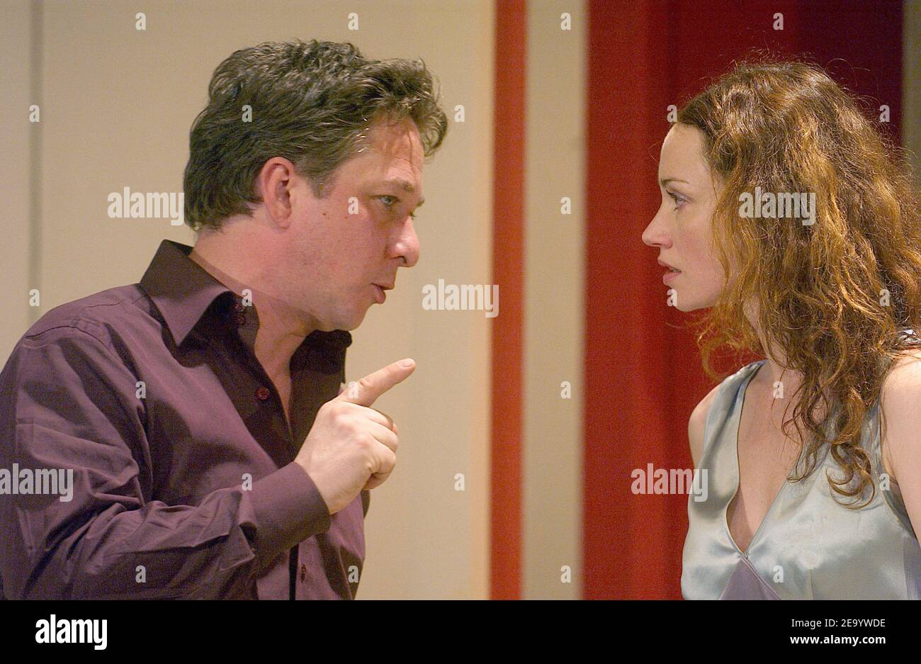 Marine Delterme and Nicolas Vaude perform in the play 'Le Manege' at Petit Theatre Montparnasse in Paris, France, on January 25, 2005. Photo by Giancarlo Gorassini/ABACA. Stock Photo