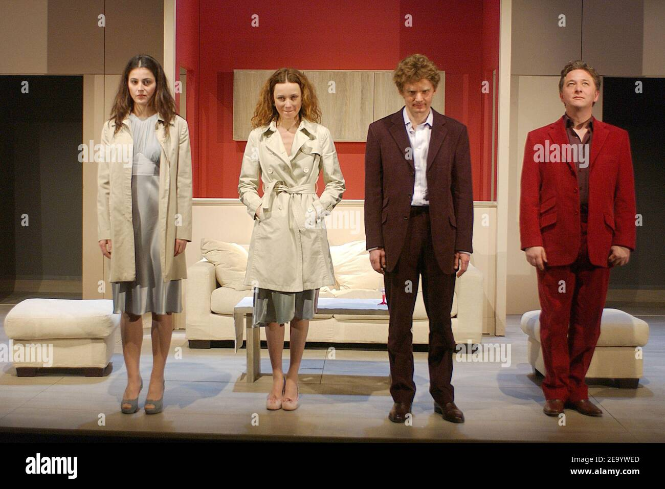 (L-R) Anne Charrier, Marine Delterme, Nicolas Briancon and Nicolas Vaude perform in the play 'Le Manege' at Petit Theatre Montparnasse in Paris, France, on January 25, 2005. Photo by Giancarlo Gorassini/ABACA. Stock Photo