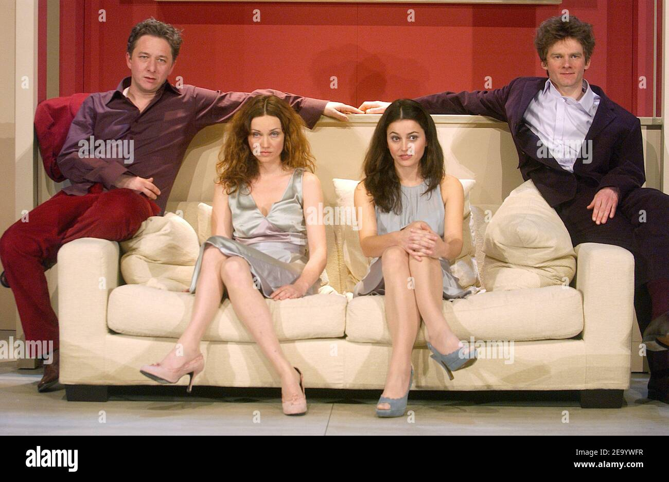 (L-R) Nicolas Vaude, Marine Delterme, Anne Charrier and Nicolas Briancon perform in the play 'Le Manege' at Petit Theatre Montparnasse in Paris, France, on January 25, 2005. Photo by Giancarlo Gorassini/ABACA. Stock Photo