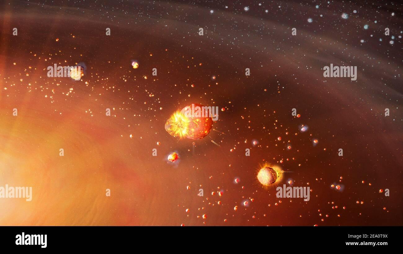 Artwork showing planetary accretion Stock Photo