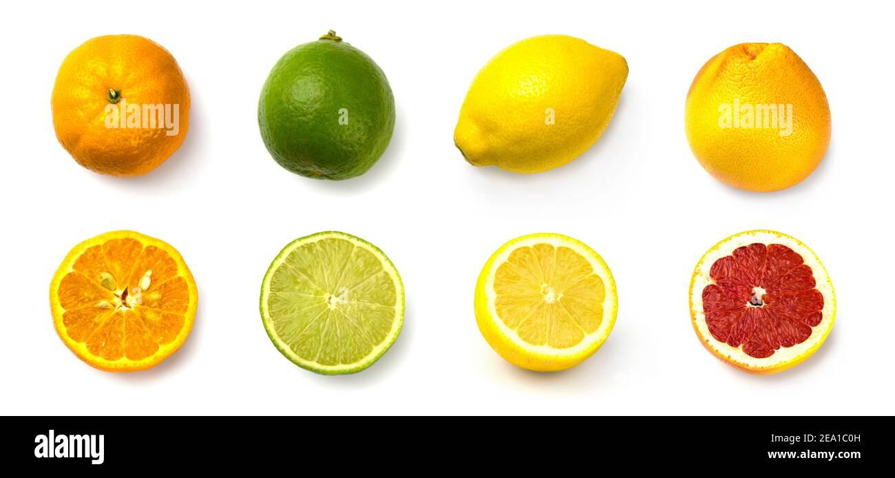 set grapefruit, lime, lemon and tangerine on white background Stock Photo