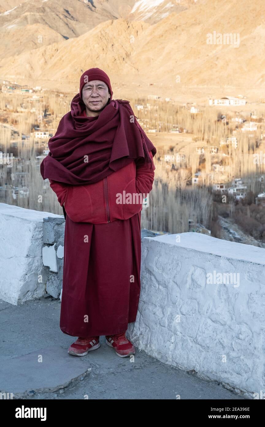 Shanti Stupa in Leh, Ladakh Stock Photo