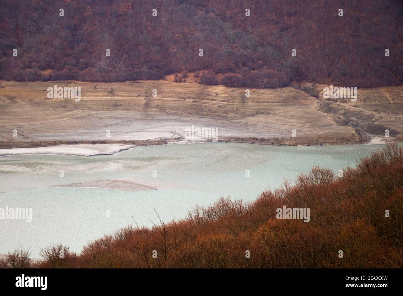 Zhinvali reservoir landscape in Georgia, cloudy weather. Stock Photo