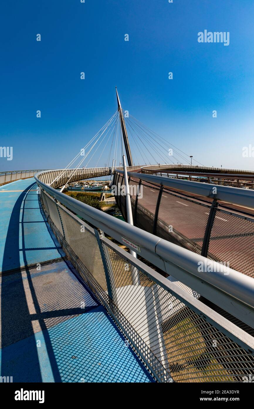 Pedestrian and cycle path on Ponte del Mare, Pescara, Italy Stock Photo