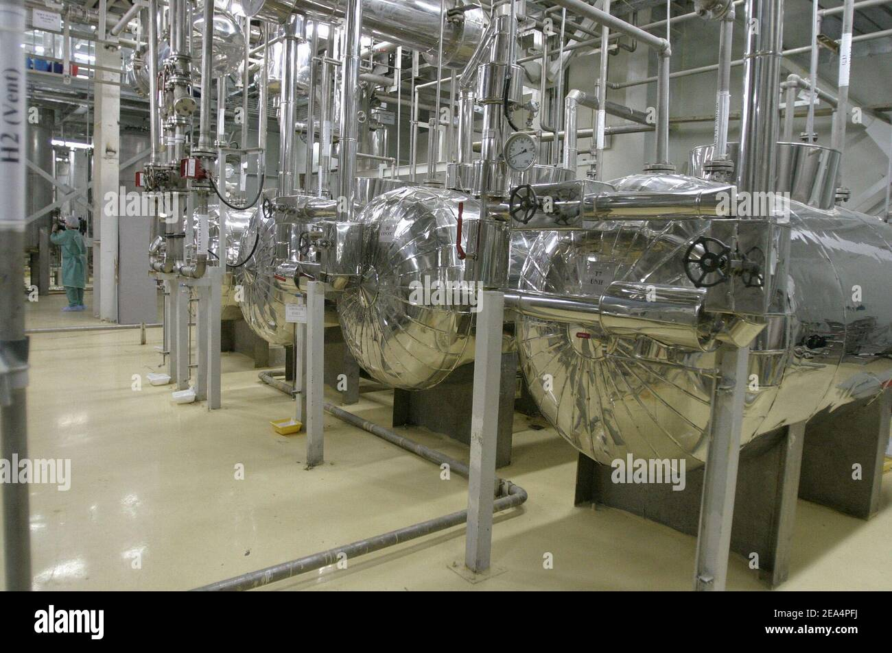 Inside view of the Uranium Conversion Facility (UCF) in Isfahan, Iran, on November 20, 2004. Iran said nuclear processing is set to resume at the Isfahan plant, the largest of its type in the country, on Wednesday. France, Britain and Germany have warned Iran of a major international crisis if the country goes ahead with its plans. Photo by ABACAPRESS.COM. Stock Photo