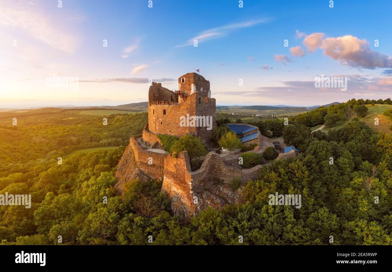 Holloko castle  in Hungary. This historical medieval castle ruin is in the Cserhat hills. A part of the UNESCO world heritage. Famous tourist attracti Stock Photo