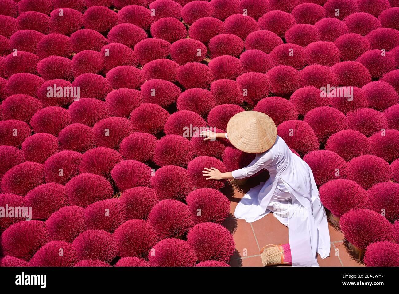 Woman gathering dried Incense sticks, Hanoi, Vietnam Stock Photo