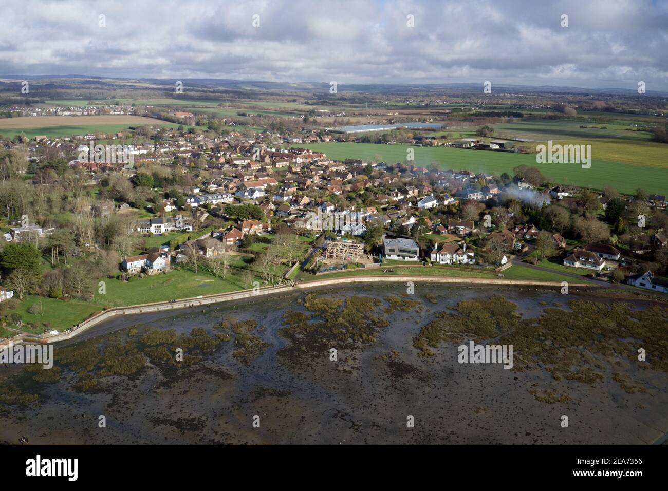 Aerial view of the yachts and old English Cottages at Bosham in Southern England. Stock Photo