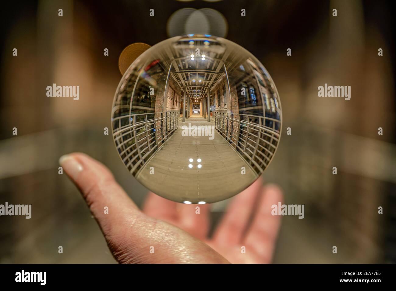 Hamburg Speicherstadt Kibbelstegbruecke at night in a cristal ball Stock Photo