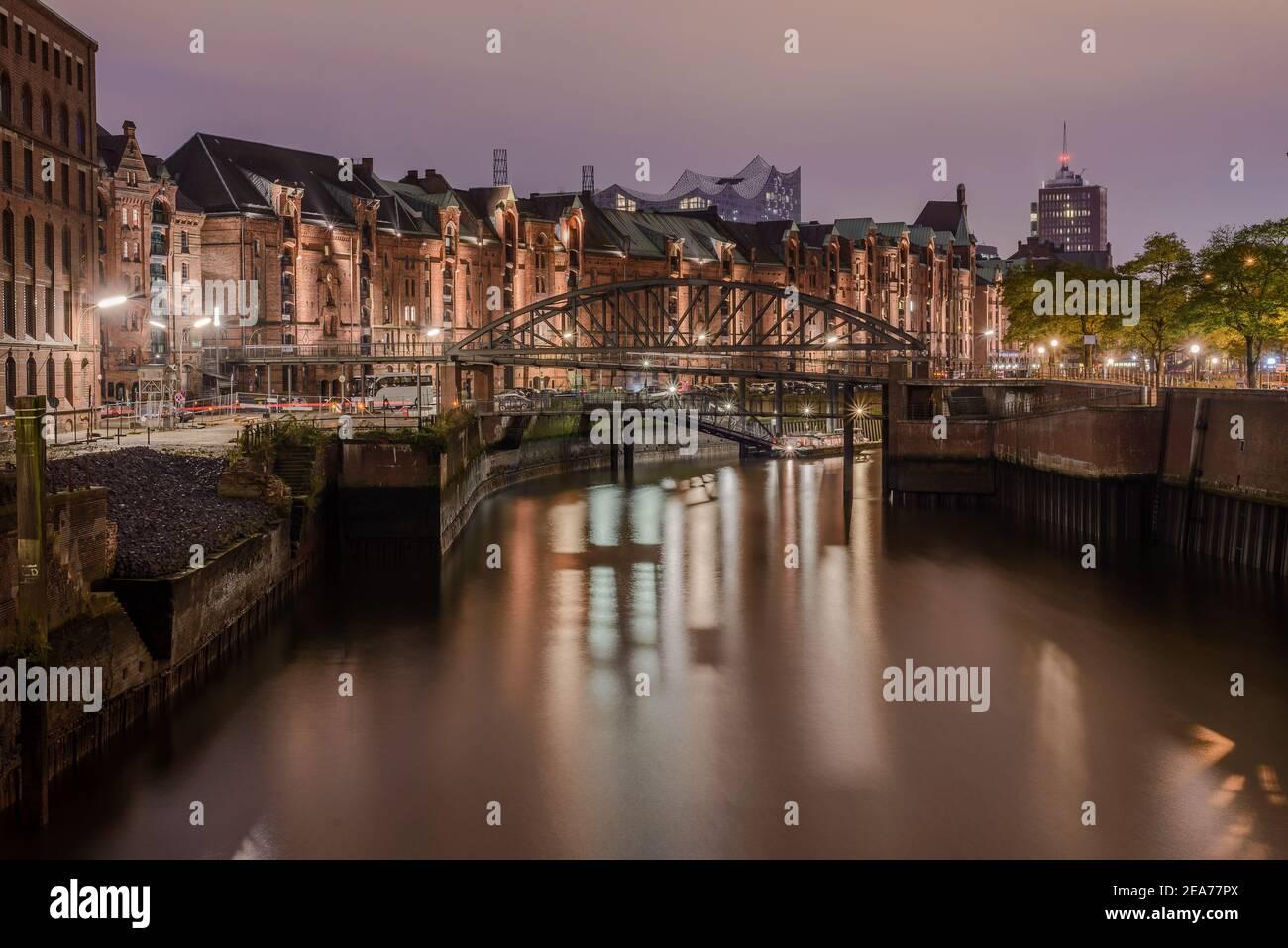 Hamburg Speicherstadt Zollkai with Kibbelstegbruecke in background Stock Photo