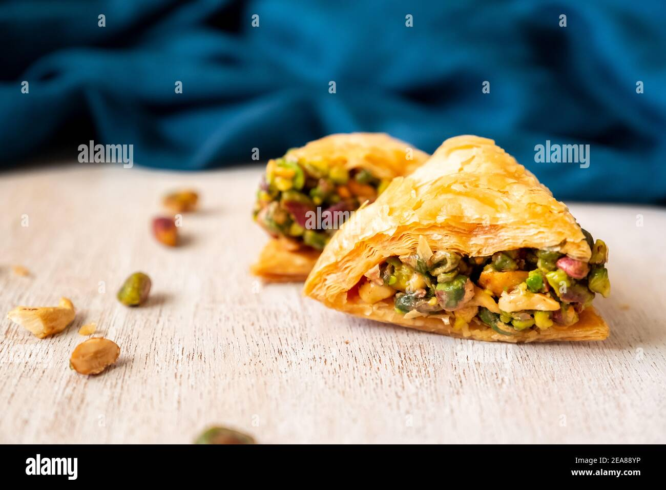 Arabic sweets named baklava filled with pistachio Stock Photo