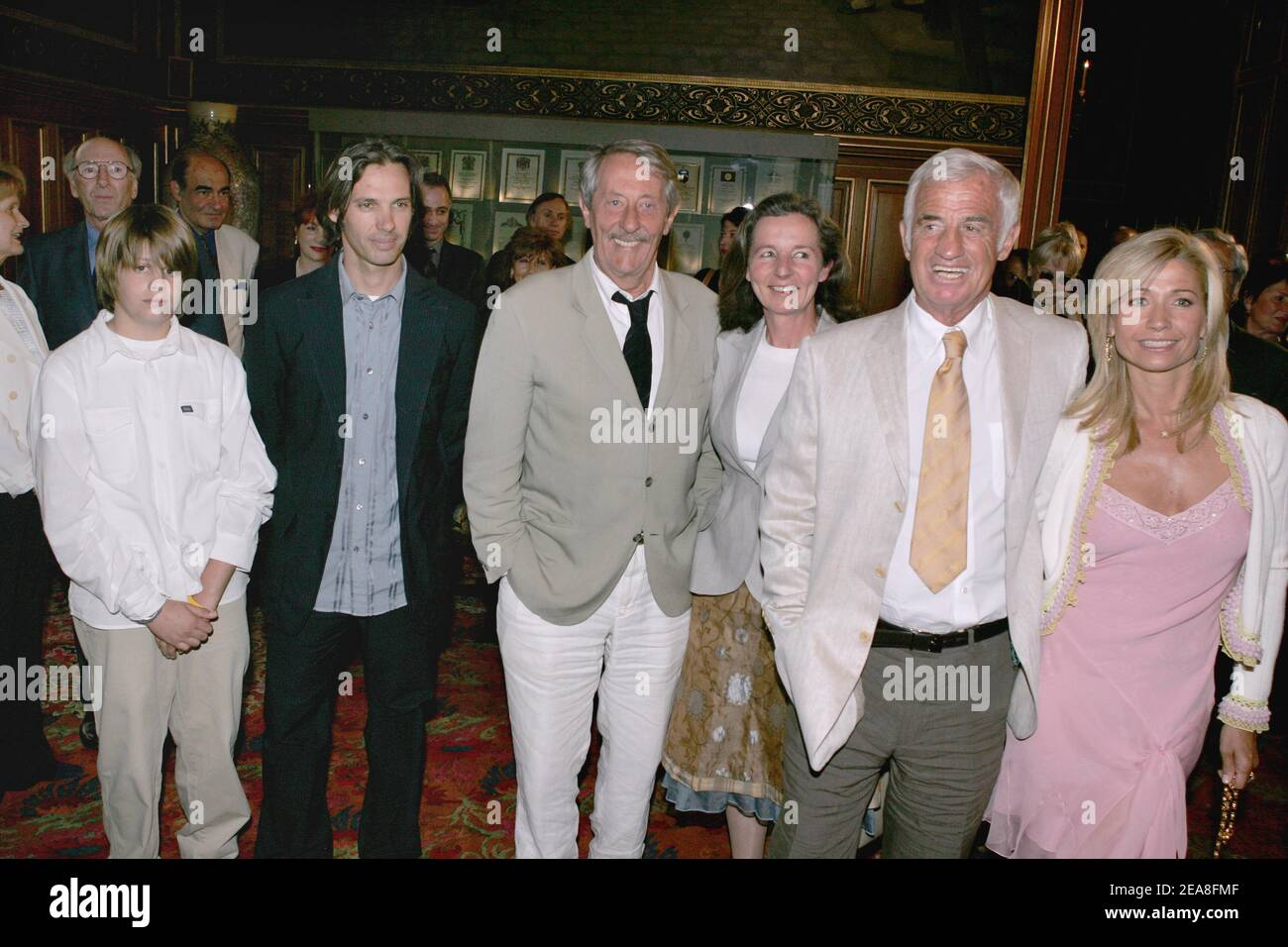 L To R French Actor Jean Paul Belmondo S Grandson Alessandro His Father Paul Belmondo French Actor Jean Rochefort And Wife Francoise Jean Paul Belmondo And Wife Natti Pictured During The Opening Ceremony Of The
