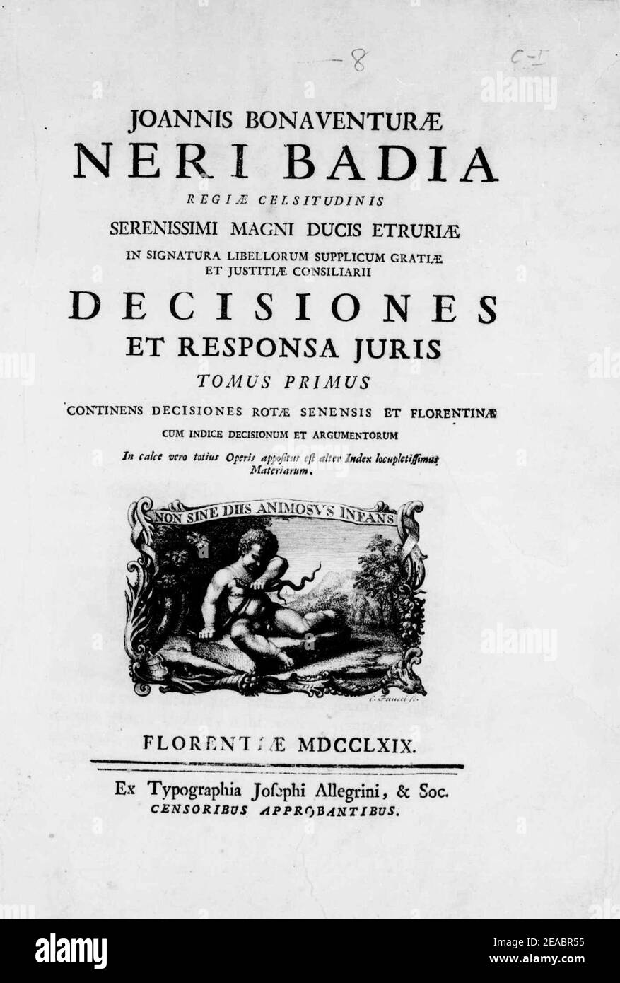 Neri Badia, Giovanni Bonaventura – Decisiones et responsa iuris, 1769 – BEIC 14373278. Stock Photo