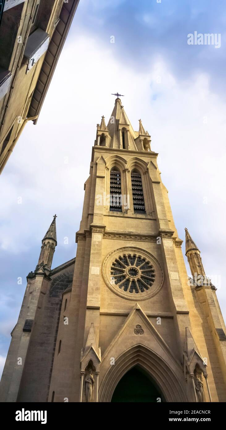 Église Sainte Anne in Montpellier. Erected in neo-Gothic style in the 19th century. The bell tower is 71 meters high. Has been an exhibition space for contemporary art since 2011. Stock Photo