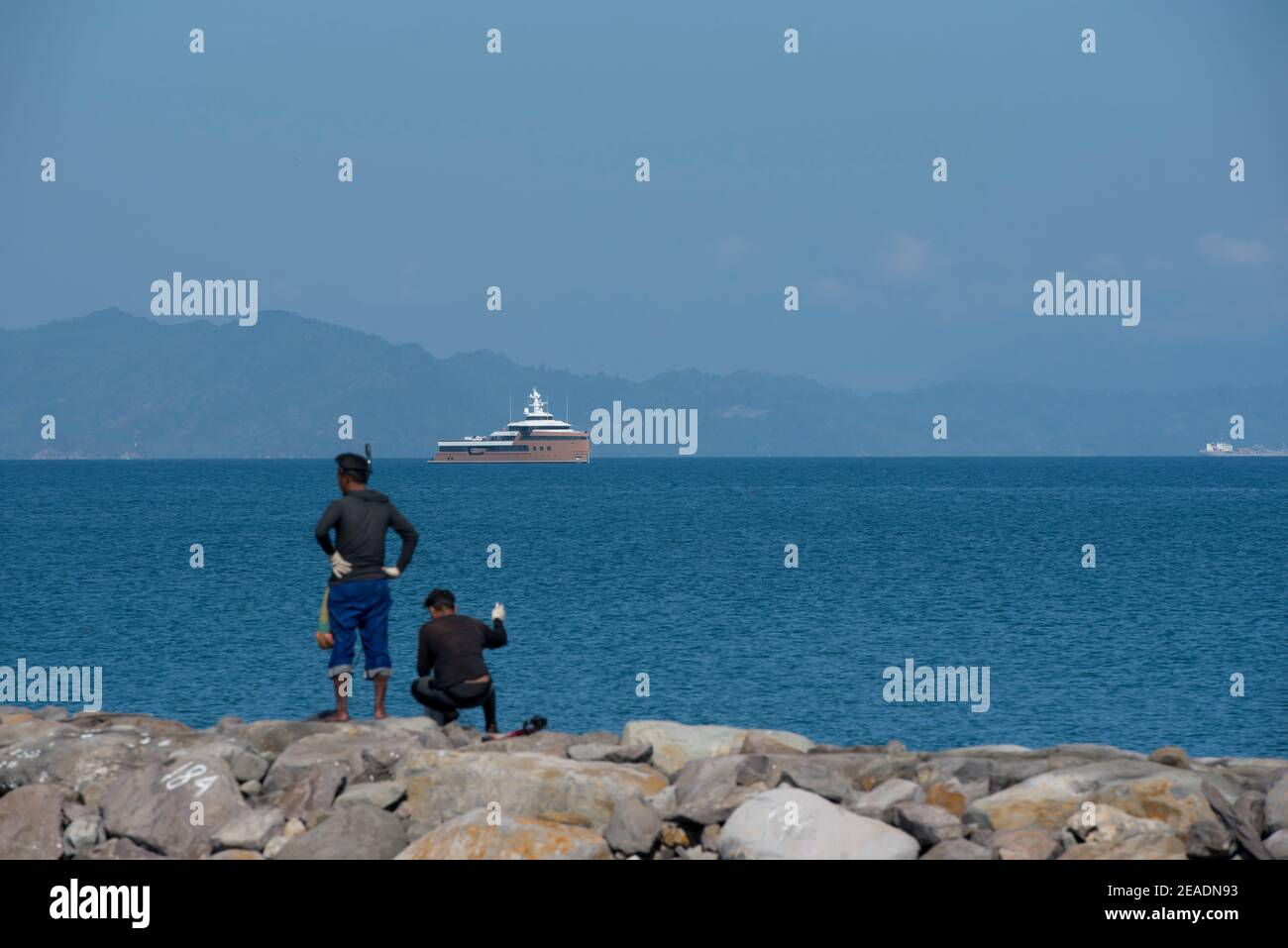 The illegal Russian super cruise ship 'La Datcha George Town' off the coast of Aceh province, in Banda Aceh, Indonesia on February 9, 2021. Stock Photo
